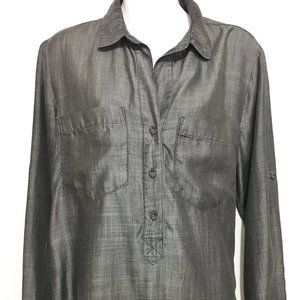 Cloth & Stone Anthropologie M Gray Tencel Shirt